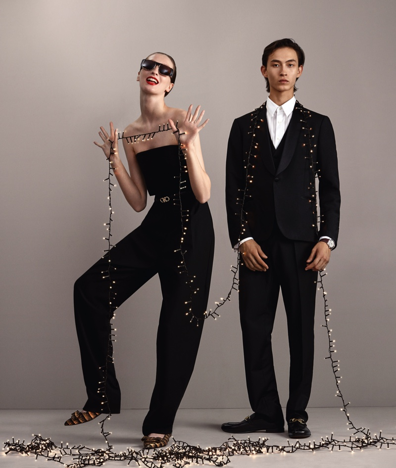 Grace Sharp and Simon Martyn front Salvatore Ferragamo's holiday 2020 campaign.