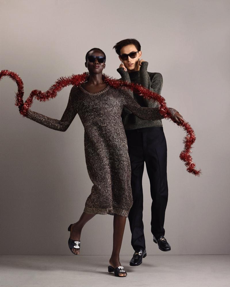 Ajok Madel and Simon Martyn appear in Salvatore Ferragamo's holiday 2020 campaign.