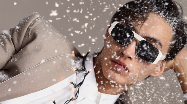 Spreading holiday joy, Simon Martyn appears in Salvatore Ferragamo's newest campaign.