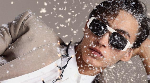 Spreading holiday joy, Simon Martyn appears in Salvatore Ferragamo's newest campaign.