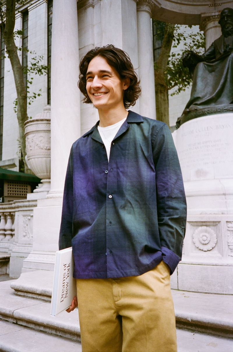 All smiles, Sebastião Hungerbühler models Saturdays New York City's Marco plaid shirt with a  tee and Ross chinos.