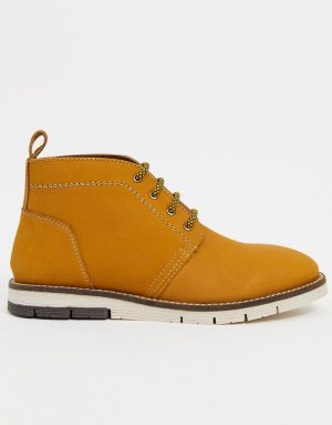 Silver Street cleated sole leather chukka boots in tan leather