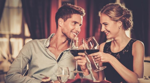 Smiling Couple Dinner Wine Table Attractive