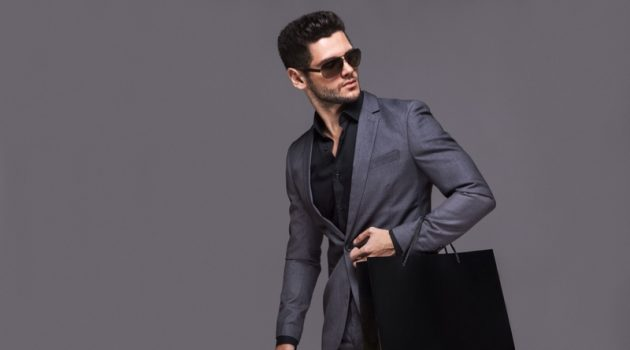 Stylish Male Model Suit Black Shopping Bag Luxury