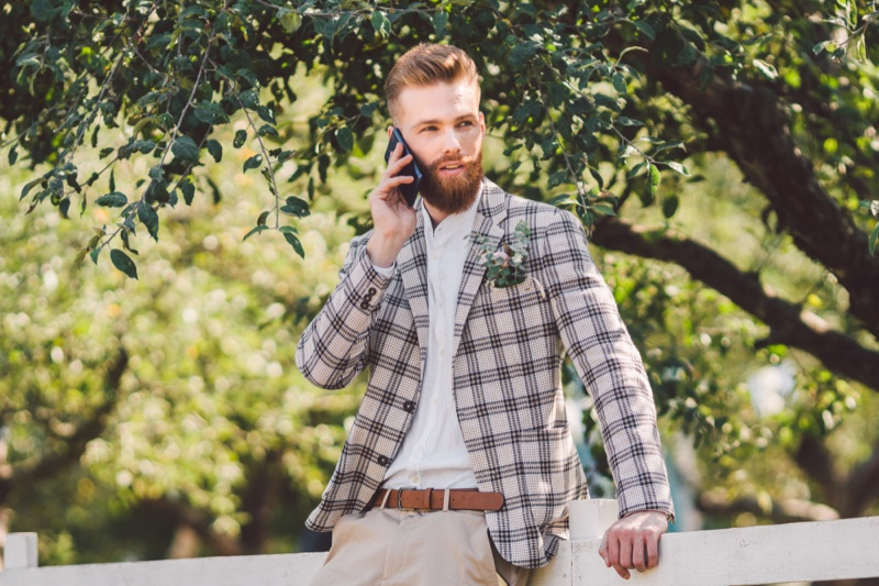 Stylish Man Plaid Jacket Shirt Phone Beard