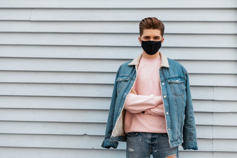 Stylish Man in Denim and Face Mask