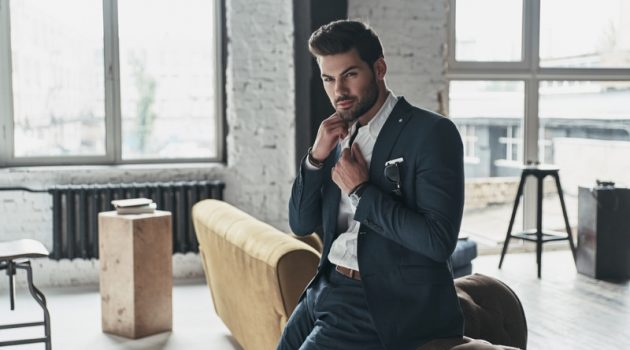 Suit Male Model Large Room Windows Luxury