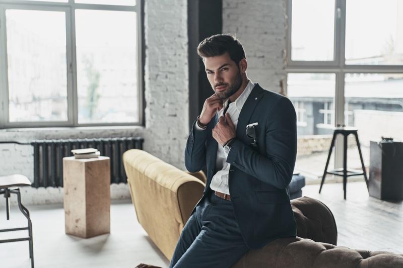 Suit Male Model Large Room Windows Luxury
