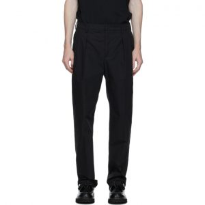 Valentino Black Plain Straight Leg Trousers