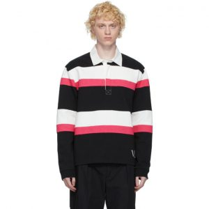 Valentino Black and Pink Jelly Block Long Sleeve Polo