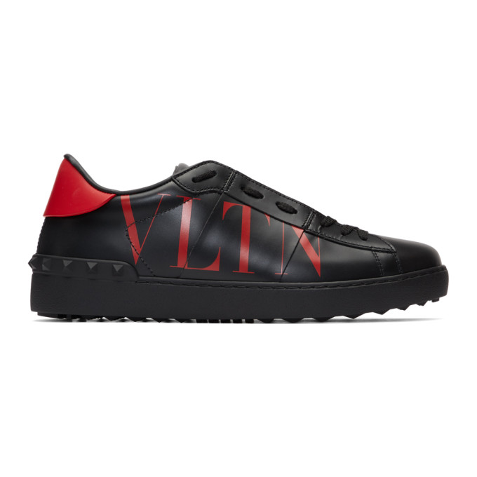 Valentino Black and Red Valentino Garavani VLTN Open Sneakers
