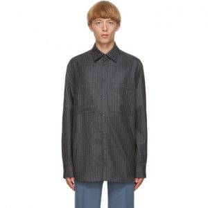 Valentino Grey and White Pinstripe Cinch Shirt