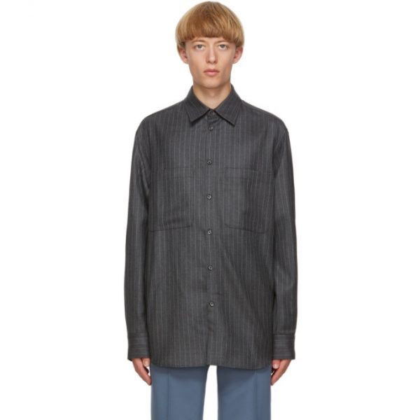 Valentino Grey and White Pinstripe Cinch Shirt