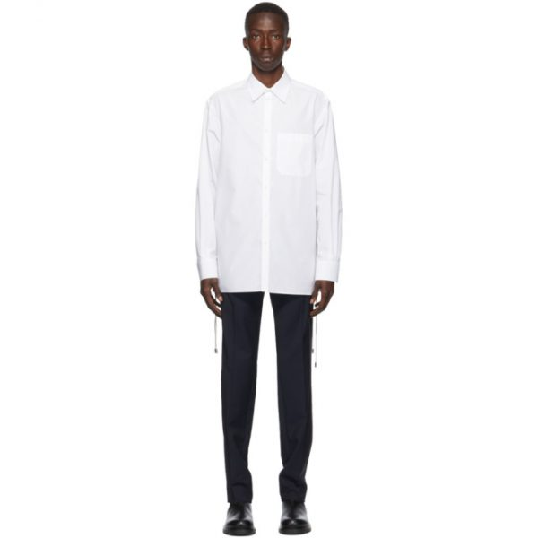 Valentino White Cord Weave Long Sleeve Shirt