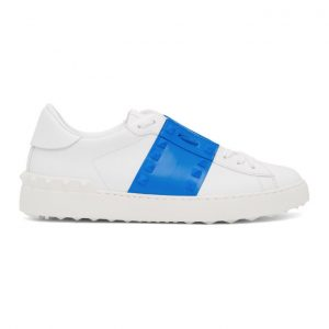 Valentino White and Blue Valentino Garavani Rockstud Untitled Sneakers