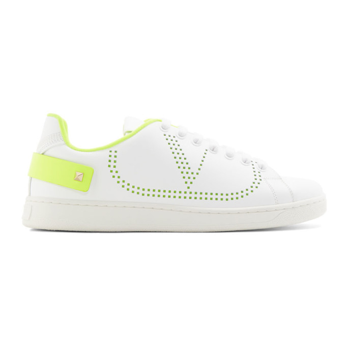 Valentino White and Green Valentino Garavani VLogo Backnet Sneakers