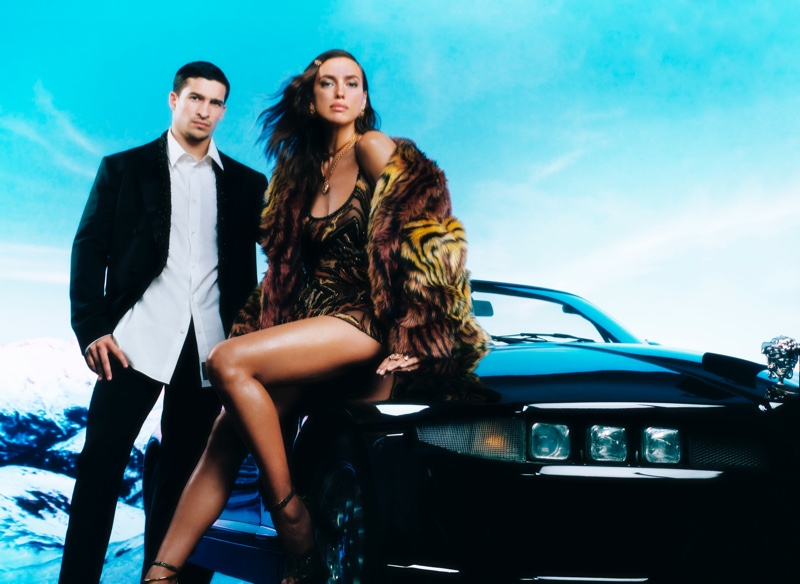 Biaggio Ali Walsh and Irina Shayk come together as the stars of Versace's holiday 2020 campaign.