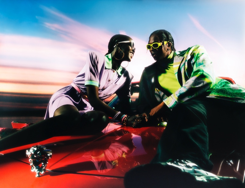 Adut Akech and Runtown appear in Versace's holiday 2020 campaign.