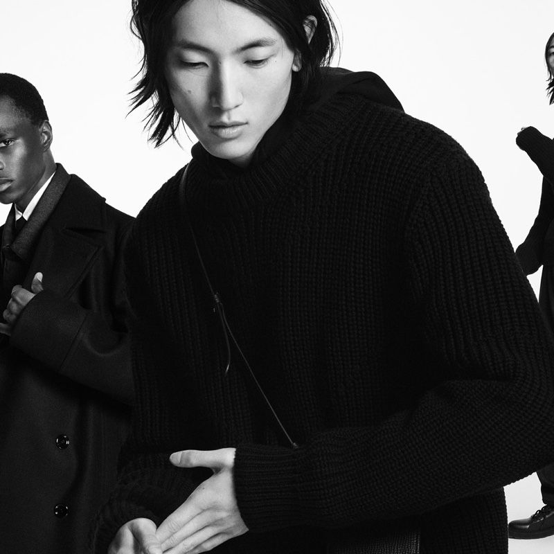 Models Malick Bodian and Meng Yu Qi appear in BOSS's fall-winter 2020 men's campaign.