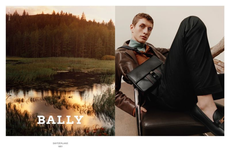 Model Henry Kitcher fronts Bally's fall-winter 2020 men's campaign.