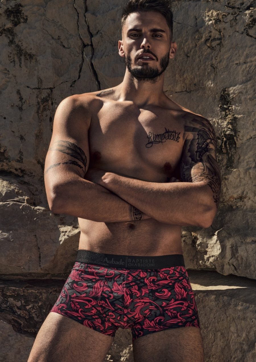 Front and center, Baptiste Giabiconi rocks underwear from his Aubade Paris collection.