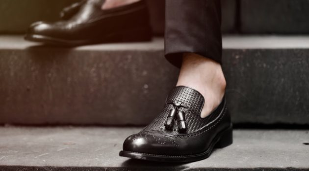 Black Leather Loafers Shoes Men's