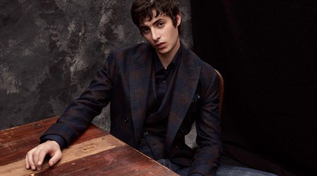 Oscar Kindelan dons a smart fall-winter 2020 look from Brunello Cucinelli.