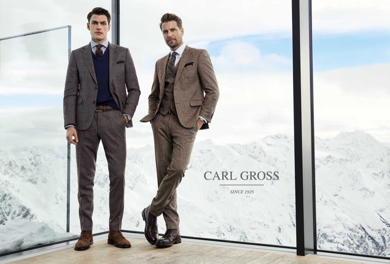Models Filip Wolfe and Bertil Espegren sport sartorial looks from Carl Gross's fall-winter 2020 collection.