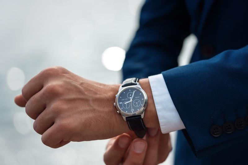 Closeup Man Suit Watch