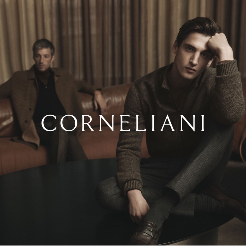 Models Joel Framption and Anatol Modzelewski star in Corneliani's fall-winter 2020 campaign.