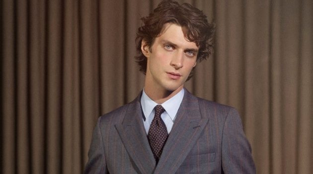 Donning a chic double-breasted suit, Matthew Bell fronts De Fursac's fall-winter 2020 campaign.