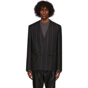 Fear of God Ermenegildo Zegna Black Wool Striped Double-Breasted Blazer