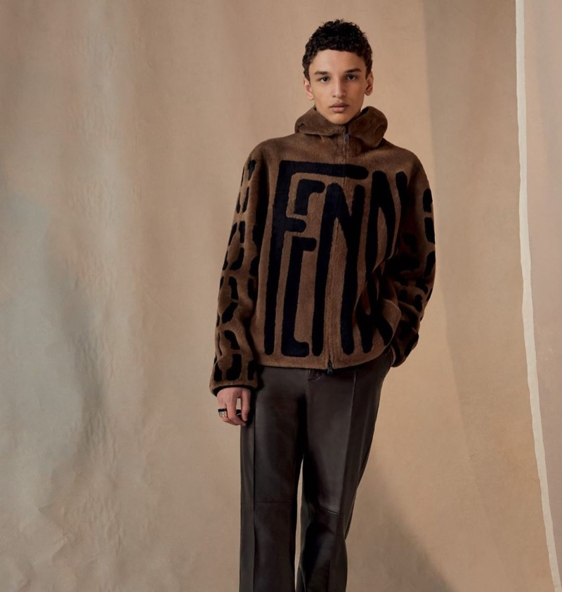 Front and center, Jethro Sapon models a Fendi look from the brand's fall-winter 2020 collection.