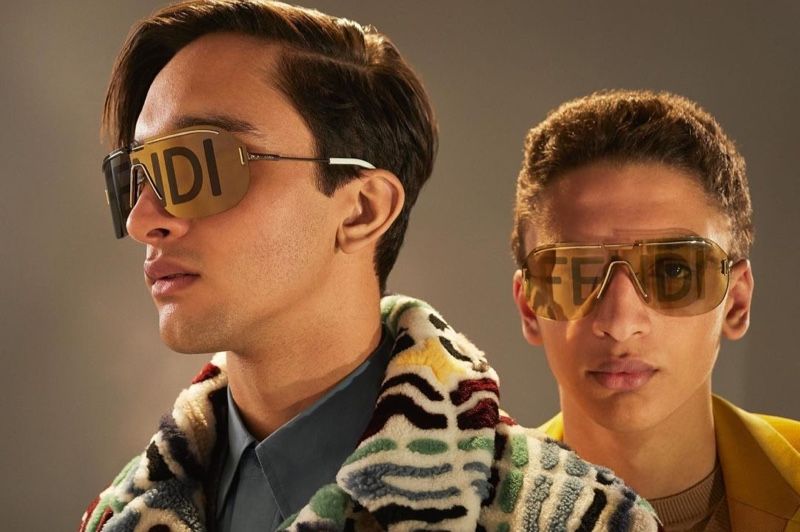 Models Noah and Jethro Sapon wears statement sunglasses from Fendi's fall-winter 2020 collection.