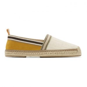 Fendi White and Yellow Canvas Espadrilles