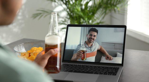 Friends Enjoying Beer Over Zoom