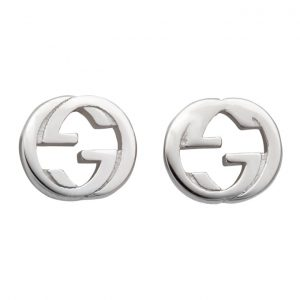 Gucci Silver Engraved Interlocking G Stud Earrings