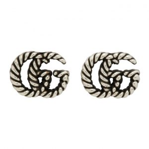 Gucci Silver GG Marmont Chain Earrings