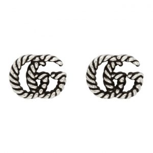 Gucci Silver GG Marmont Stud Earrings