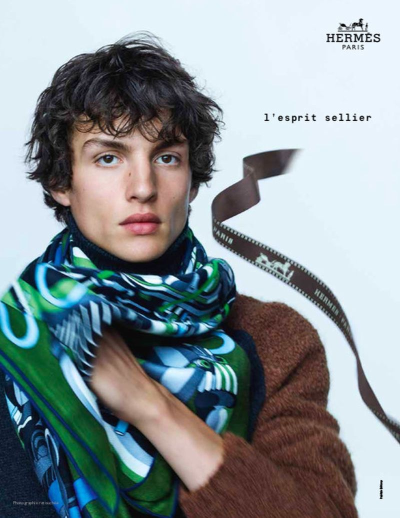 Lucas El Bali dons a chic scarf for Hermès's fall-winter 2020 men's campaign.