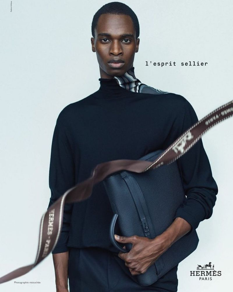 Front and center, Bakay Diaby stars in Hermès's fall-winter 2020 men's campaign.