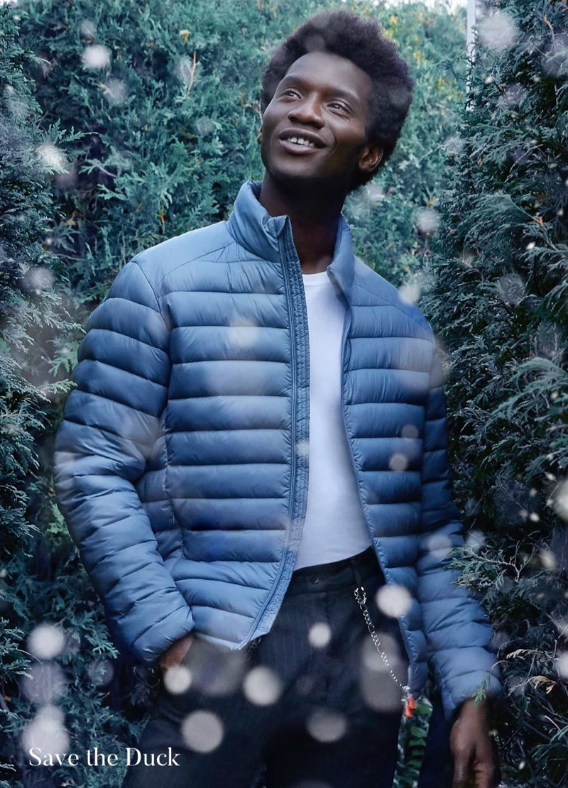 Adonis Bosso dons a quilted jacket from Save the Duck for Holt Renfrew.
