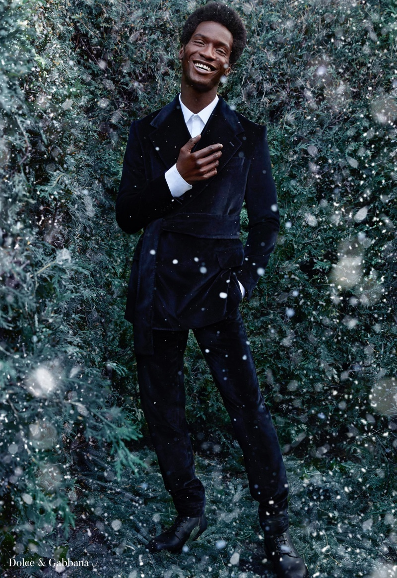 A dapper vision, Adonis Bosso dons an elegant evening number by Dolce & Gabbana for Holt Renfrew.