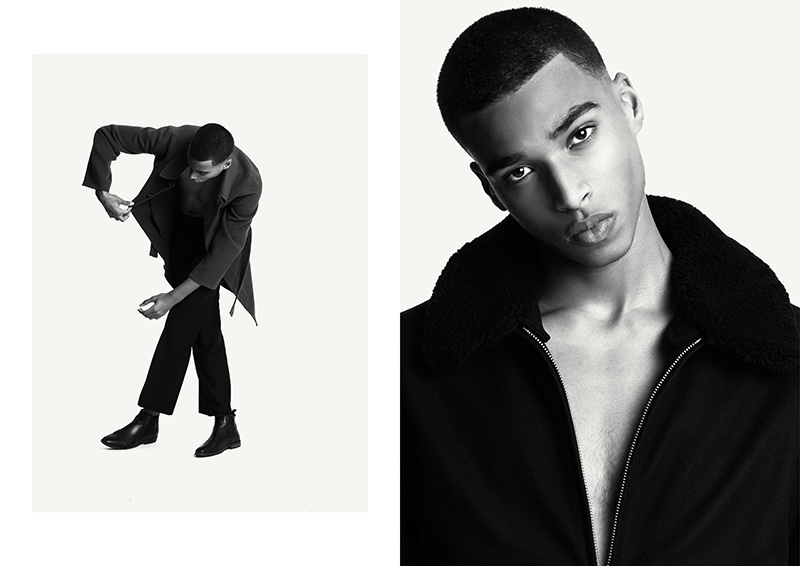 Appearing in studio images, Jerome wears fall looks from Sandro.