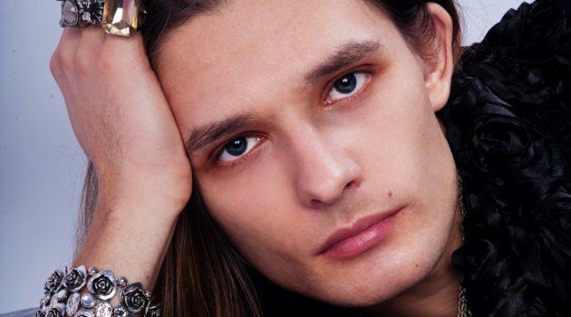 Male Model Jewelry Rings Bracelet Necklace Cognac Glass