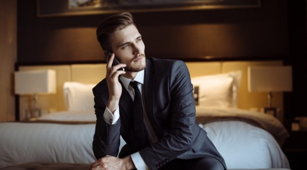 Male Model Suit Hotel Business Phone