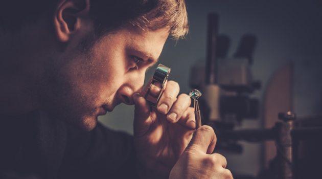 Man Examining Diamond Gemologist