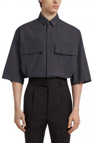 Men's Fear Of God X Ermenegildo Zegna Oversized Short Sleeve Shirt, Size Small - Black
