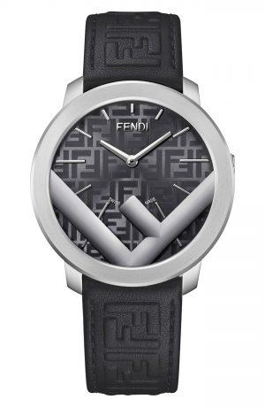 Men's Fendi Run Away Leather Strap Watch, 41mm