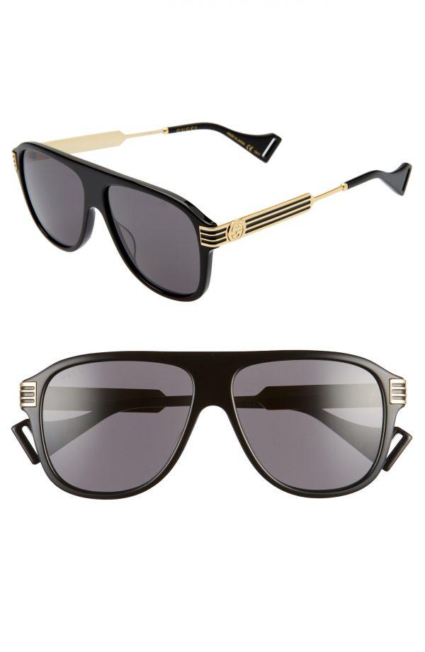 Men's Gucci 57mm Aviator Sunglasses - Shiny Black